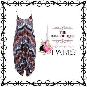 Plus Size Abstract Stripe Harem Jumpsuit
